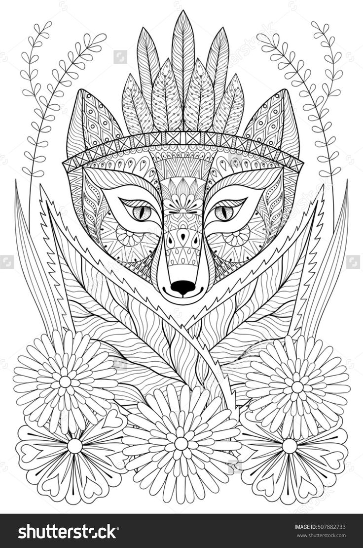 Coloring pages grass - Zentangle Wild Fox With Indian War Bonnet In Grass And Flowers Hand Drawn Ethnic Free Animal For Adult Coloring Pages Boho T Shirt Patterned Print
