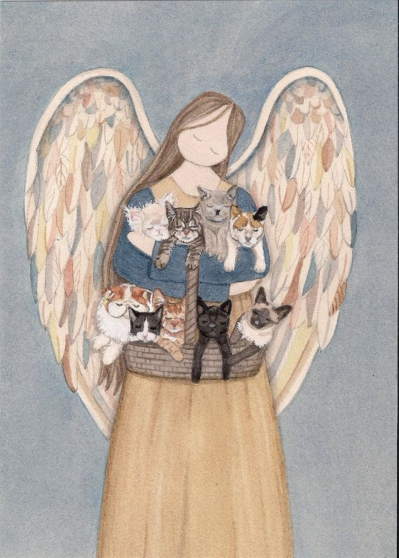 Standing angel cradles cats (persian, siamese, tuxedo, black, white, grey, tiger, calico, tabby) / Lynch signed folk art print