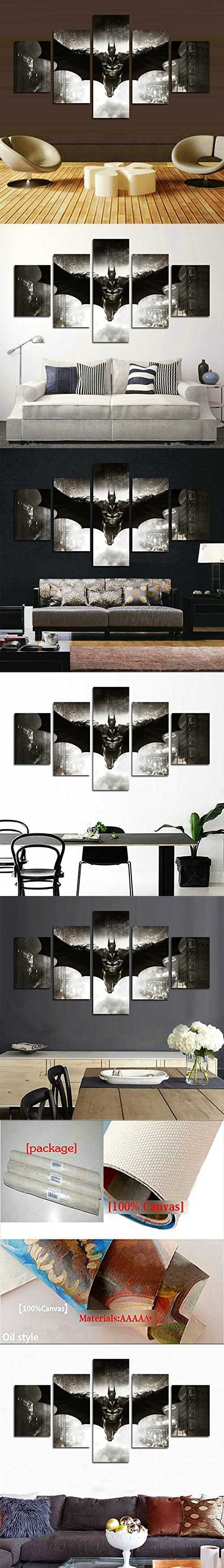 H.COZY5 Piece HD printed Batman Movie Poster room decor poster painting canvas print wall art canvas (No Frame) Unframed far301 50 inch x30 inch