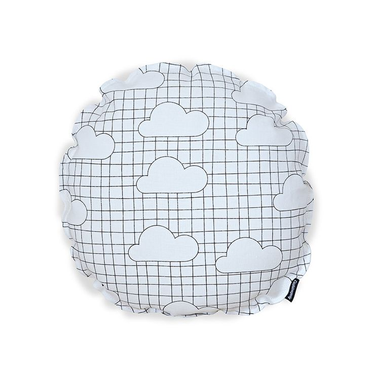 Graphic Clouds Round Cushion Cover