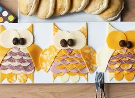Owl Meat & Cheese Tray - Cute way to serve food at an owl theme party