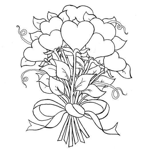 Nosegay Of Heart Coloring Page