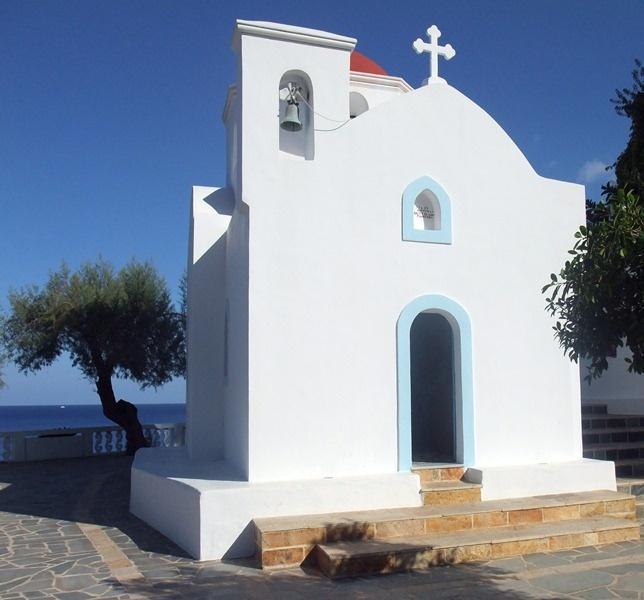 A church at Kirá Panagiá beach in Karpathos, Greek Dodecanese Islands.