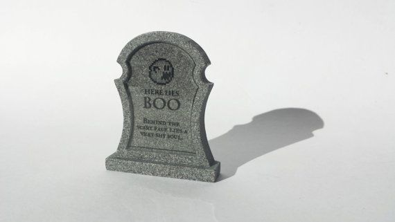 "This specific tombstones is for the classic Boo. Who somehow...died again?  We thought because Boo is a ghost that he deserved to have his own tombstone. Epitaph reads:  ""Here lies Boo, Behind the scary faces lies a very shy soul."" Available at www.ChinookCrafts.Etsy.com"