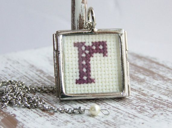 Cross Stitch Personalized Initial Necklace by Thimbleful on Etsy, $25.00