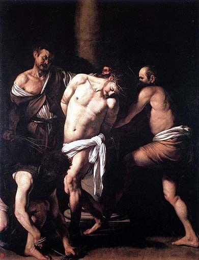 Flagellazione di Cristo, 1607-8, Museo nazionale di Capodimonte, Napoli: evidente il ricercato contrasto tra le dolci sembianze di Cristo e i volti disumani degli aguzzini.