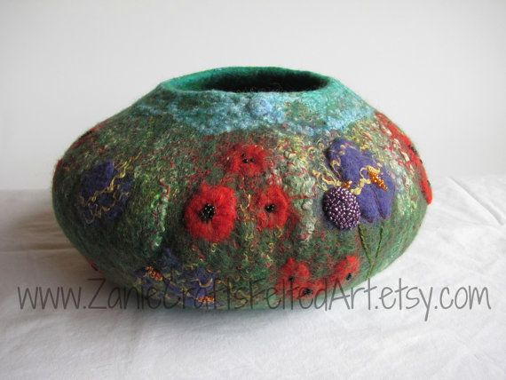 Impressionist style Garden Art wool bowl by ZanieCraftsFeltedArt