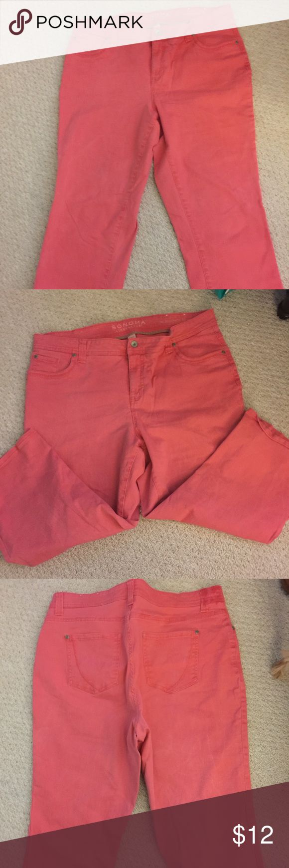 Women's crop jeans size 16 W. Never worn Never worn women's coral colored crop jeans in size 16W. Excellent condition; bought but never wore Sonoma Jeans Ankle & Cropped