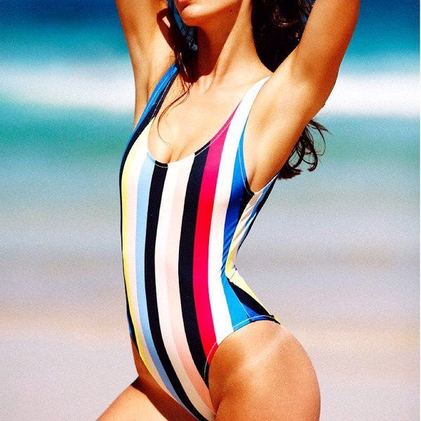 Product Description:(Free Shipping) Women's Casual Multicolor Striped One Piece Sexy Beach Swimsuit by PesciModa Item Type: One Piece, Sport Type: Swim, Pattern Type: Striped, Gender: Women, Material: