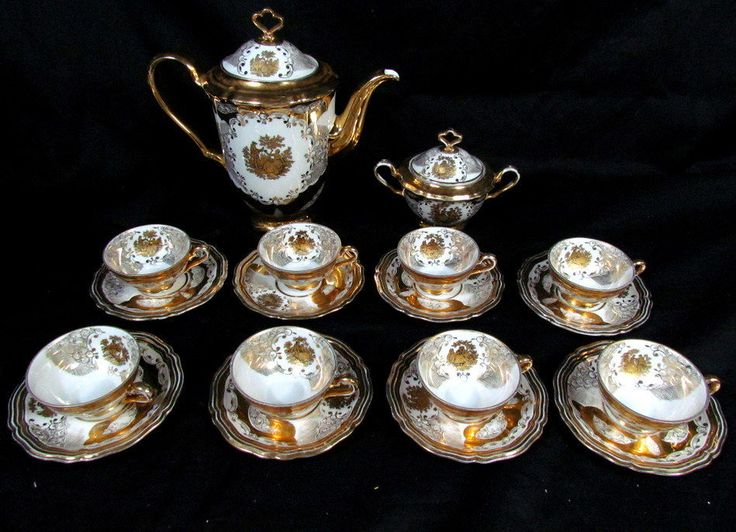 18 pc antique gold china tea set marie luise seltmann weiden pot sugar creamer antique gold. Black Bedroom Furniture Sets. Home Design Ideas