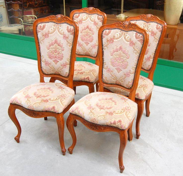 4 sedie provenzali imbottite '900 in faggio scolpite con conchiglia