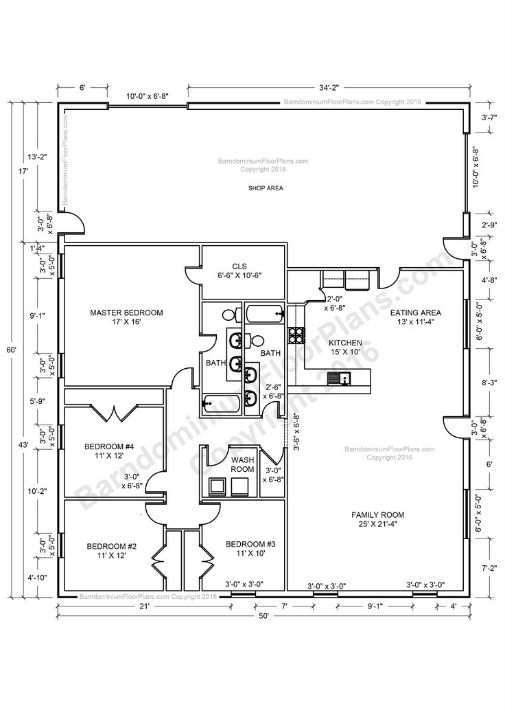 Barndominium house plans 40x50 house floor plans 40x60 for Shop house combination plans