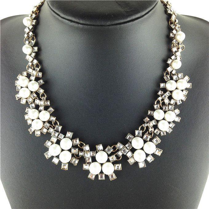 Заявление Имитация Жемчужные ожерелья Моды новый дизайн цепи ожерелье коренастый горный хрусталь кристалл ожерелья & подвески