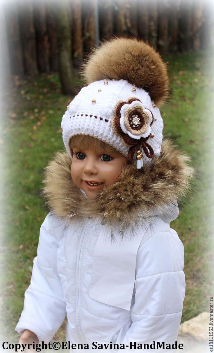"""Купить """"Зима""""-шапочка для Ирины - белый, орнамент, шапочка, шапочка крючком, вязаная шапочка"""