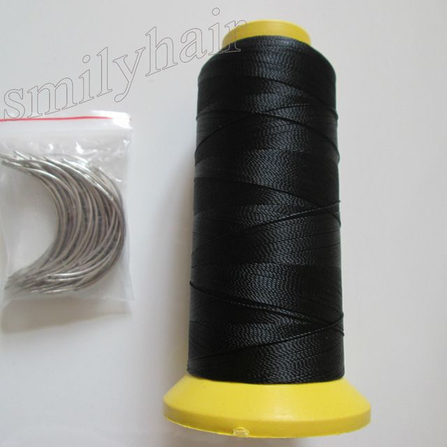 Free shipping 50pcs 6.5cm length C type weaving needles Curved needles and 1 roll Spools of Nylon weaving thread  for hair weft