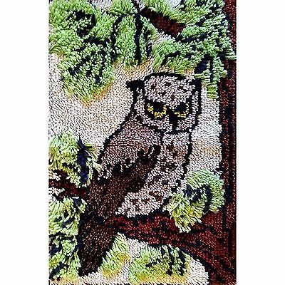 Owl Latch Hook Rug Wall Hanging Vintage Complete 27 x 20 inch c1417