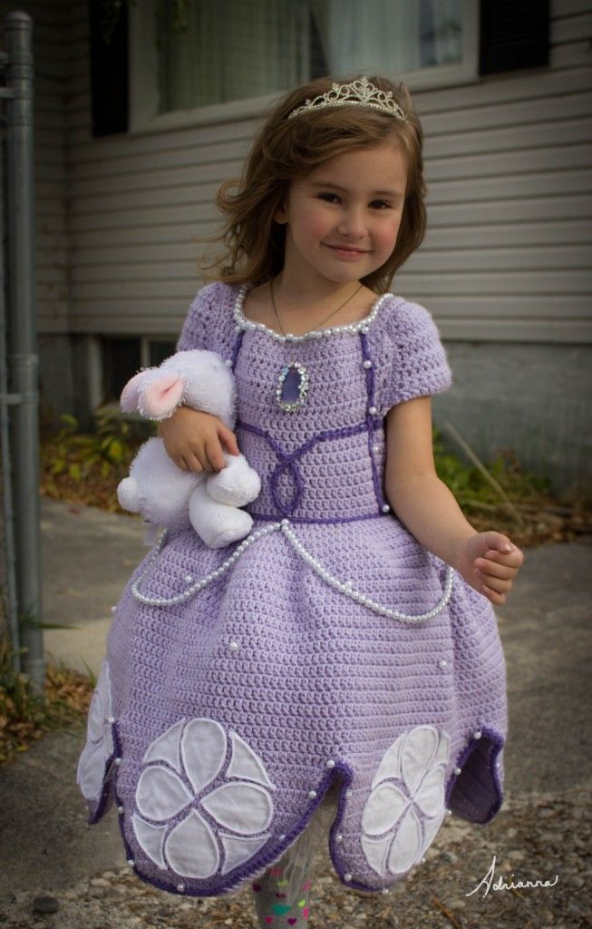 Sofia the First Dress. Handmade and Crocheted.