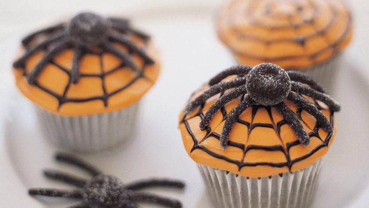 Scary Spiderweb Cupcakes recipe and reviews - Throwing a ghoulish Halloween party? Be sure to prepare loads of these rich and chocolatey Spiderweb Cupcakes for your crowd of hungry goblins.