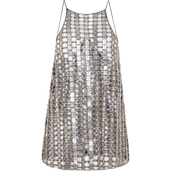 Wes Gordon Halter Top ($4,790) ❤ liked on Polyvore featuring tops, dresses, edie, metallic, metal top, metallic sleeveless top, halter neck tops, spaghetti-strap top and metallic top