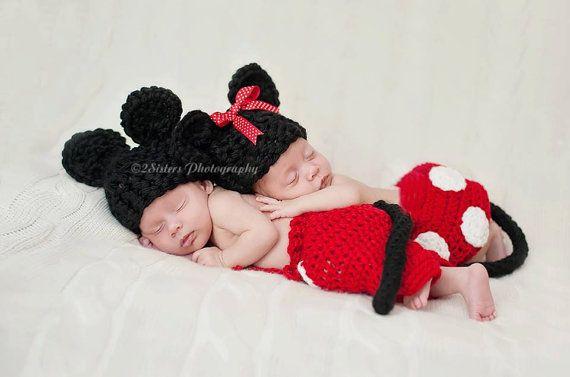 Uncinetto bambino gemelli Minnie e Topolino di TreasuredCreation