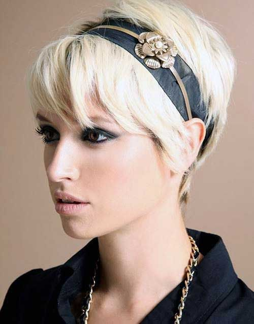Platinum Short Pixie Blonde Hairstyles with Headband