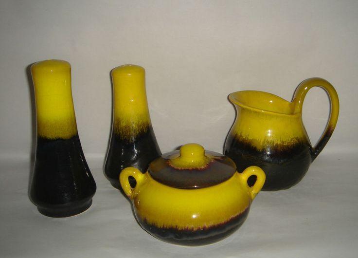Retro ELLIS Australia Pottery Glaze Yellow Brown Salt Pepper Sugar Bowl Milk Jug    eBay