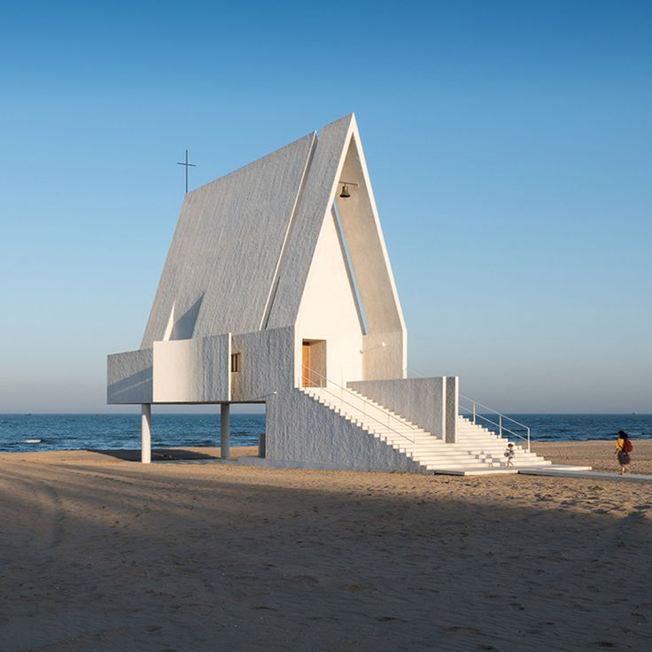 Tidal waters wash underneath Seashore Chapel by Vector Architects