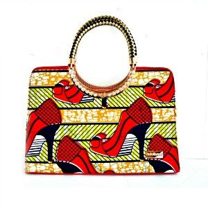 Red African Wax Print  Large Hobo Bag With Leather Straps - Zabba Designs African Clothing Store  - 2