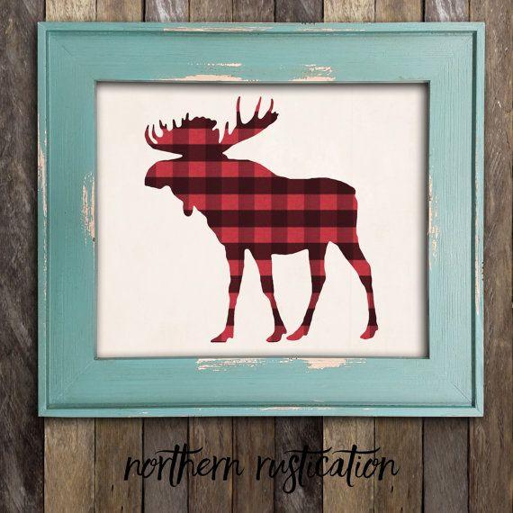 Moose Head Antler Art Print Woodland Moose par NorthernRustication