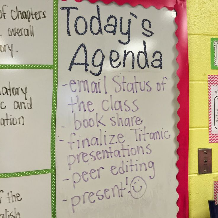 """Life in Fifth Grade- Posting the day's agenda to eliminate the question """"What are we doing today?"""""""