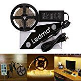 LEDMO LED Light Strip SMD 2835 Warm White 3000K Dimmable  Non-Waterproof  DC12V 600LEDs 16.4 Ft 15Lm/LED With Power Supply