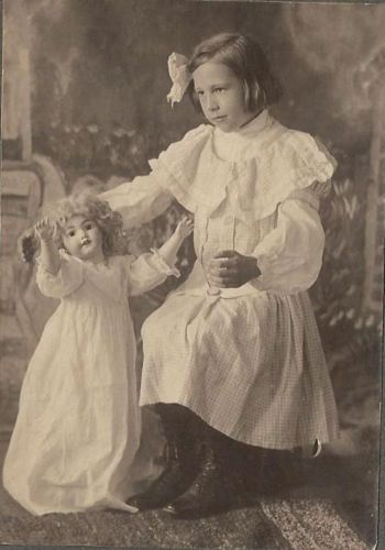 Beautiful Antique Photo of A Little Girl Dancing with Large German Bisque Doll   eBay