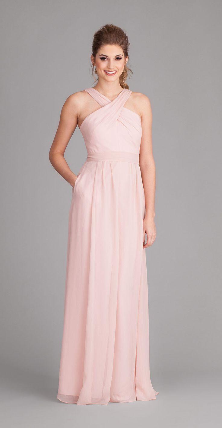 Long chiffon bridesmaid dresses are super chic and elegant. | Kennedy Blue Bridesmaid Dress Stella