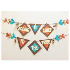 Pow Wow Baby Shower Banner ; Little Chief Baby Shower ; Arrow Shower Decoration ; Its A Boy ; Tribal Baby Shower Decor Lets Get Decorative