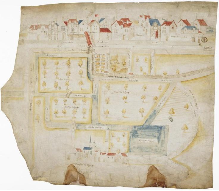 Plan des maisons bordant la Bièvre à Saint-Marcel, 1539  Paris, Archives nationales, S 4623 /2  © Archives nationales, France