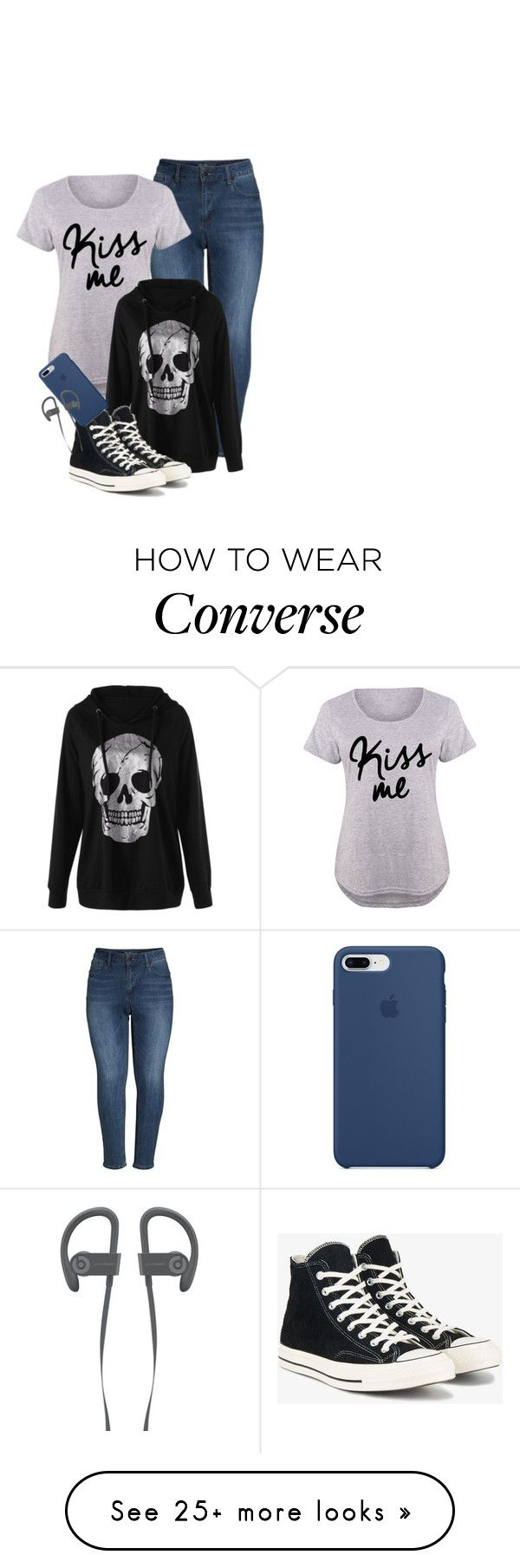 """""""ootd"""" by miniaturellamagladiator on Polyvore featuring Seven7 Jeans, Converse, Apple and plus size clothing"""