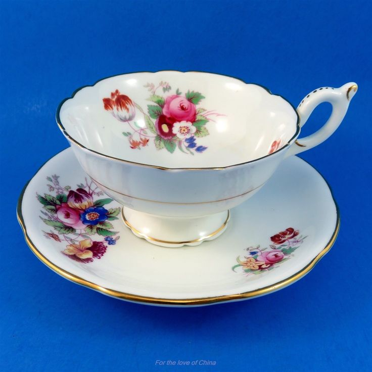 COLOURFUL Floral Bouquet Coalport Tea Cup and Saucer Set - CAD $45.00. Colourful Floral Bouquet Coalport Tea Cup and Saucer Set This delightful cup and saucer set is in very good condition, free of chips, cracks or crazing, and is sure to please a discriminating collector of fine china, or complement a prized tea service on those special occasions. This lovely set is delicately accented, well-balanced to the touch and beautifully crafted, and offers itself as a pretty personal indulgence or…