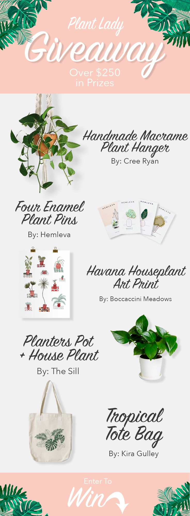 Plant Lady Giveaway! Over $250 in prizes! #plantlady #giveaway