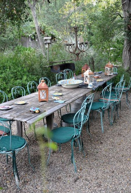 Eclectic Outdoor Dining Setup   via Hooked On Houses Blog   House & Home