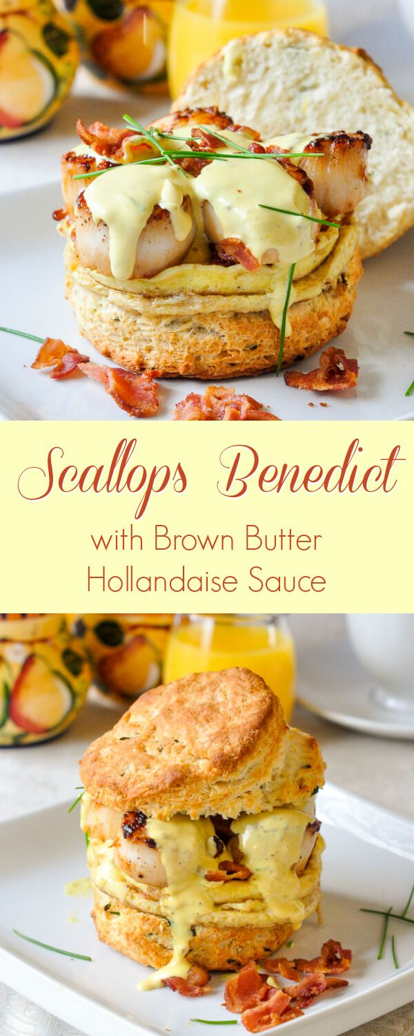 Scallops Benedict with Brown Butter Hollandaise on Chive Buttermilk Biscuits - an indulgent dish fit for for any celebration from birthdays, to Easter to a fancy wedding day brunch.