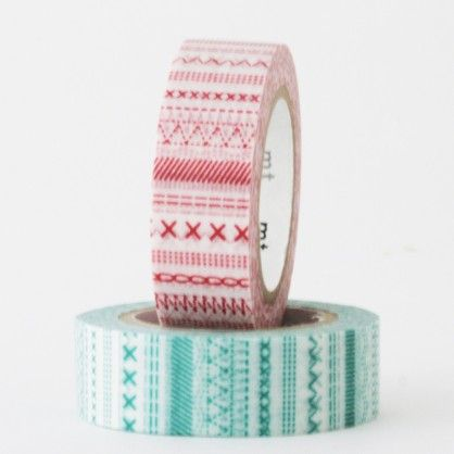 masking tape - 2P - points couture rouge et turquoise