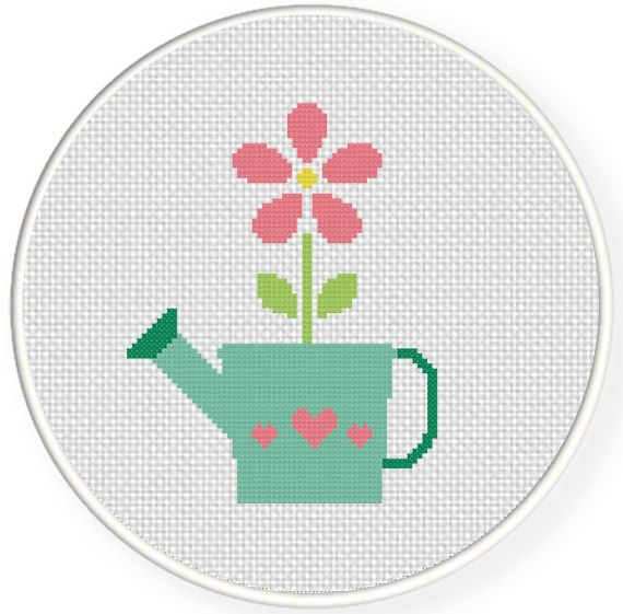 FREE for Nov 29th 2014 Only - Watering Can Flower Cross Stitch Pattern get it at http://www.DailyCrossStitch.com