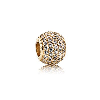 Shimmer for the nigth #PANDORAcharm in 14kt gold and pavé set stones $400