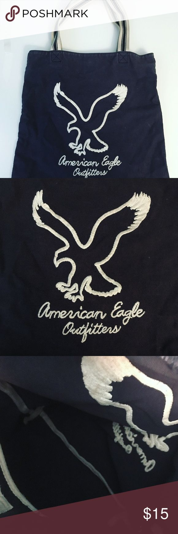 American Eagle Tote Bag Navy Blue, thick material American Eagle tote bag. Perfect for the beach! It is in great condition, has nice thick straps so it's comfortable on the shoulder. Had inside zipper pocket as well. American Eagle Outfitters Bags Totes