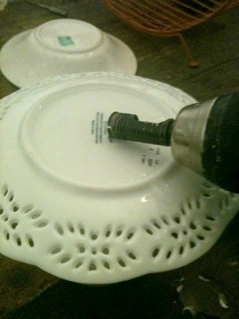 How to drill through china--and make a lamp from random dishes!