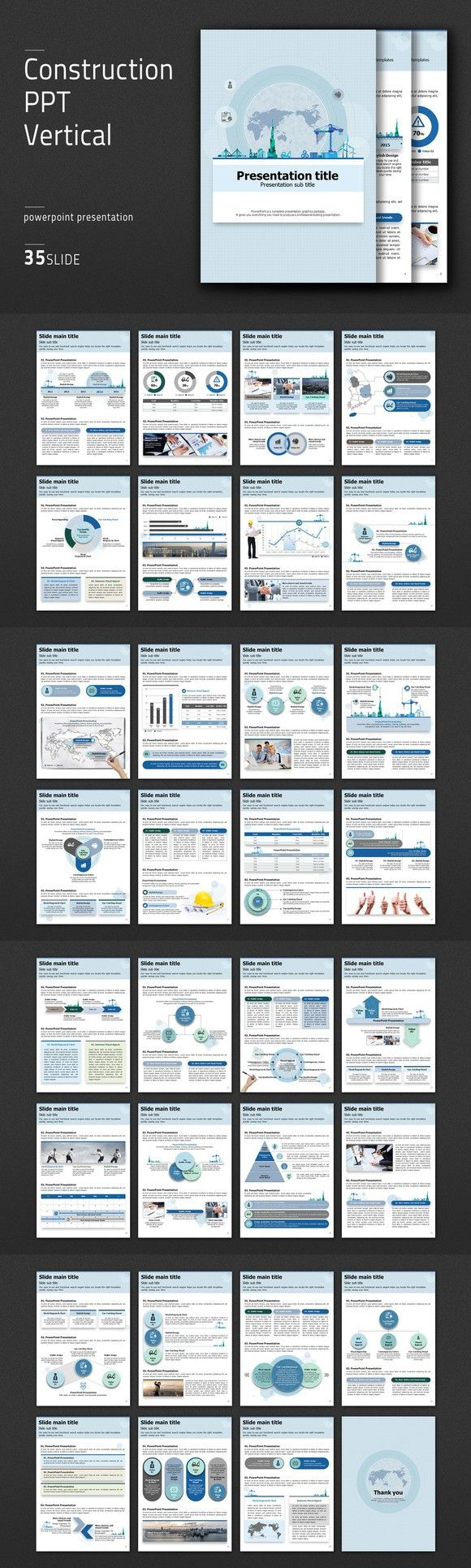 Construction PPT Vertical. PowerPoint Templates. $41.00
