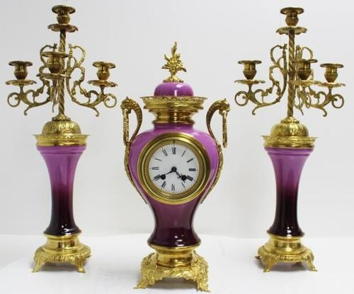 RARE Antique 19thC French Purple Porcelain Ormolu Garniture Mantel Clock Set 466 | eBay
