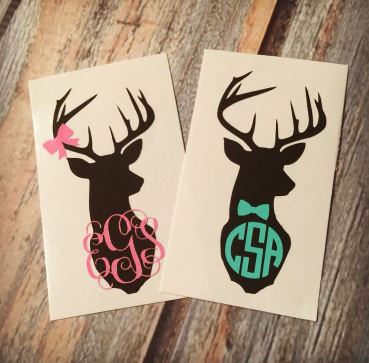 Deer Monogram Sticker or Decal - with Optional Antler Bow or Bowtie. Any Color Combo! For Laptop, Car, Notebook, phone, iPhone, etc. by ItsMineDesigns on Etsy https://www.etsy.com/listing/210343513/deer-monogram-sticker-or-decal-with