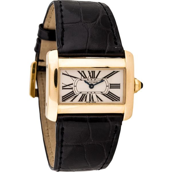 Pre-owned Cartier Tank Divan Watch ($3,795) ❤ liked on Polyvore featuring jewelry, watches, imitation watches, preowned watches, crown jewelry, 18k watches and steel jewelry