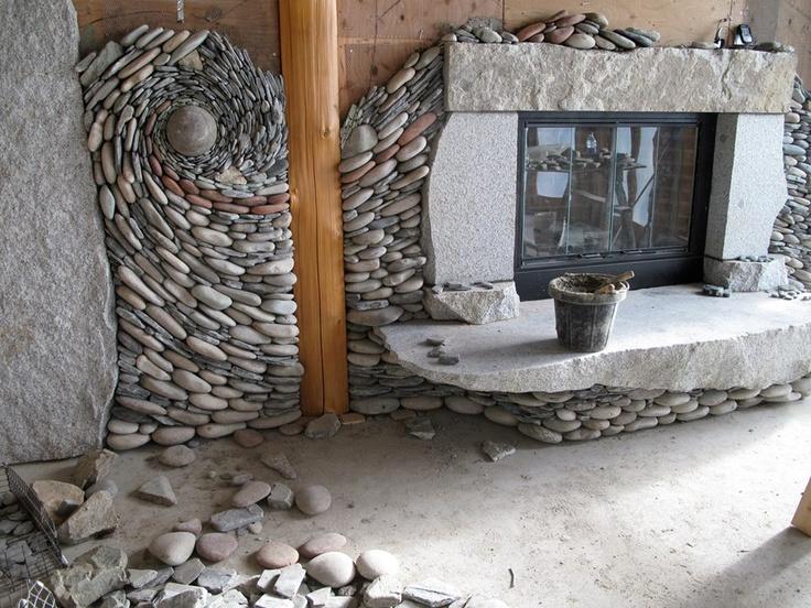 Steinwand Wohnzimmer Felsen Innenausbau Ofen Schner Wohnen Aufbewahrung Traumhaus Tapeten Einrichtung